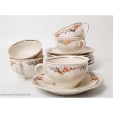 Porcelāna tējas vai kafijas komplekts, tases un apakštases, RPF