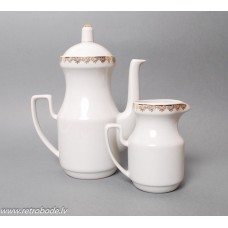 Porcelāna kafijas kanna un krējuma trauks no servīzes Aija-2, RPR, Rīgas porcelāns