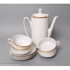 Porcelāna 4 tases, 4 apakštases, kafijas kanna, PFF