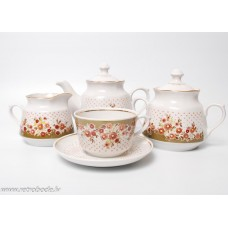 Porcelāna tējas servīze 12 personām, tases, apakštases, cukurtrauks, tējkanna, krējuma trauks