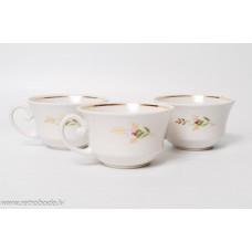 3 gab. Porcelāna kafijas tases, aplgeznojums