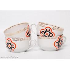 Komplekts, 4 gab. porcelāna kafijas tases, RPR, Rīgas porcelāns