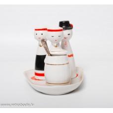 """Porcelāna garšvielu trauku komplekts """"Rotaļa"""", sāls, piparu un sinepju trauks, PFF"""
