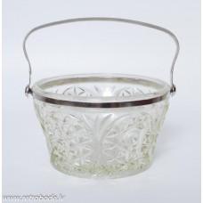 Presētā stikla konfekšu vāze ar metāla rokturi