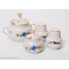 Porcelāna garšvielu trauku komplekts sāls, piparu un sinepju trauks, mērces trauks, RPR, Rīgas porcelāns