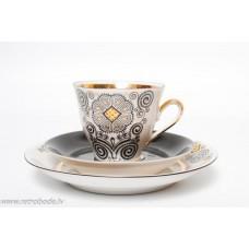Komplekts, porcelāna kafijas tase un divas apakštases Marianna