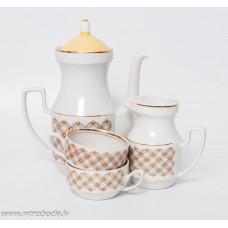 Porcelāna kafijas kanna un krējuma trauks un 2 tases no servīzes Aija-2,  RPR, Rīgas porcelāns