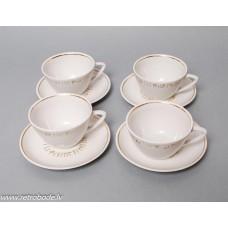 4 gab. Porcelāna tējas vai kafijas komplekts, tases un apakštases, PFF