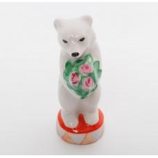 """Porcelāna figūriņa """"Cirka Lācis ar buķeti"""", Duļevo"""