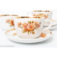 Komplekts, 3 gab. porcelāna kafijas tase un apakštase, RPR, Rīgas porcelāns